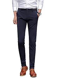 Homme simple Taille Normale Micro-élastique Costume / Tailleur Chino Pantalon,Mince Droite Couleur Pleine