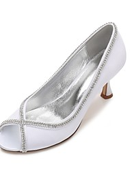 Women's Wedding Shoes Comfort Basic Pump Spring Summer Satin Wedding Dress Party & Evening Rhinestone Sparkling Glitter Chain Low Heel
