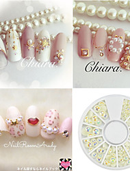 1pcs New Mix Size Natural Color Shimmering AB Pearl Nail DIY Beauty Shining Pearl Jewelry Decoration Nail 3D Flat Back Manicure Accessories