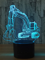 Excavator 7 Color Lamp 3D Visual Led Night Lights For Kids Touch Usb Table Lampara Lampe Baby Sleeping Nightlight Motion Light