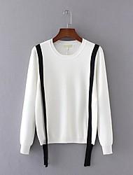 Для женщин На выход На каждый день Простое Обычный Пуловер Однотонный,Круглый вырез Длинный рукав Искусственный шёлк Полиэстер Нейлон