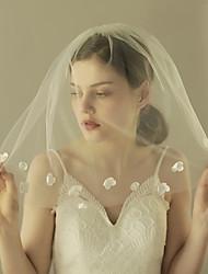 Véus de Noiva Uma Camada Véu Ombro Corte da borda Borda com aplicação de Renda Tule