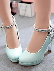 Women's Heels Comfort PU Spring Casual Comfort Blushing Pink Blue 4in-4 3/4in