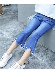 Pantalones Chica Color Sólido Algodón Verano