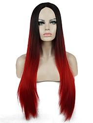 Mulher Perucas sintéticas Sem Touca Longo Liso Preto/Vermelho Faux Locs Wig 100% cabelo kanekalon Cabelo Ombre Riscas Naturais Peruca
