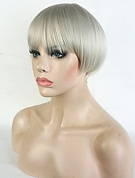 Mulher Perucas sintéticas Sem Touca Curto Liso Loiro Platina Faux Locs Wig 100% cabelo kanekalon Riscas Naturais Corte Bob Corte Pixie