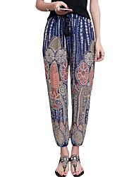 Mujer Sencillo Tiro Bajo Microelástico Chinos Pantalones,Pantalones Harén Estampado Gasa