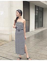 Tee Shirt Robe Femme Décontracté / Quotidien Rayé Sans Bretelles Maxi Sans Manches Coton Eté Taille Haute Micro-élastique Fin