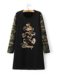 Largo T Shirt Vestito Da donna-Feste Casual Semplice Moda città Tinta unita Camouflage Rotonda Al ginocchio Sopra il ginocchioManica