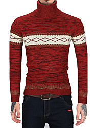 Men's Casual/Daily Work Vintage Simple Regular Pullover,Striped Color Block Turtleneck Long Sleeves Wool Faux Fur Cotton Fall Winter