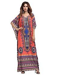 Women's Beach Holiday Vintage Boho Loose Swing Dress,Geometric V Neck Maxi Half Sleeves Rayon All Seasons Summer Mid Rise Inelastic Medium