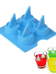 Shark Fin Shape Ice Mold Silicone 4 Holes Ice Cream Maker Fruit Bar Drink Whiskey Mould