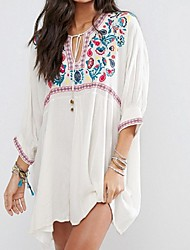 Women's Bandeau Cover-Up Lace Up Embroidery