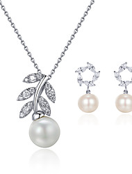 Beadia 925 Sterling Silver Jewelry Set Necklace & Earrings With Pearl