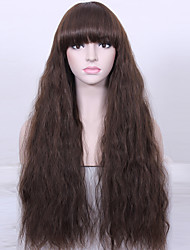 Natural Long Curly Wig High Temperature Fiber Women Brown Wigs Synthetic Hair Wig