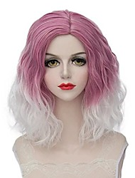 Gold Pink to White Ombre Hair Cosplay Party Two Tone Color Capless Synthetic Wigs High Temperature Heat Resistant
