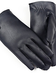 Men's Telefingers Drive Cycling Gloves Genuine Leather Fur Wrist Length Fingertips Windproof Keep Warm Waterproof Black