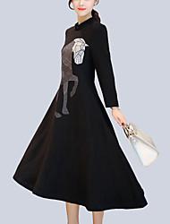 Для женщин Для вечеринок На выход Винтаж Шинуазери (китайский стиль) А-силуэт Платье Вышивка,Воротник-стойка Ассиметричное Длинный рукав