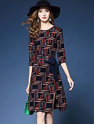 Gaine Robe Femme Soirée Sortie Vintage,Imprimé Col Arrondi Mi-long Demi Manches Polyester Printemps Automne Taille Normale Non Elastique