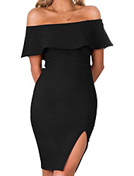 Women's Party Holiday Bodycon Dress,Solid Boat Neck Above Knee Short Sleeves Others Summer Mid Rise Micro-elastic Medium