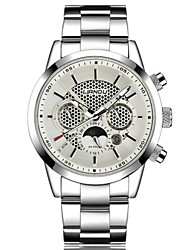 Men's Fashion Watch Quartz Stainless Steel Band Casual Black White Silver