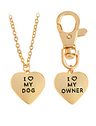 2 Pcs Best Friends Owner and Dog Letter I LOVE MY DOG Necklace Keychain-Gold