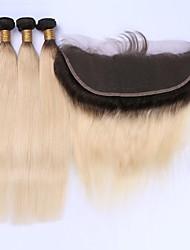 Trama do cabelo com Encerramento Cabelo Brasileiro Retas 12 meses 4 Peças tece cabelo kg Mechas Rápidas Tecidas