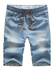 Hombre Sencillo Tiro Medio Inelástica Vaqueros Pantalones,Corte Recto Un Color rasgado