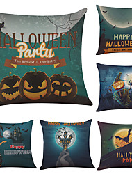 Set of 6 Happy Halloween Linen Cushion Cover Home Office Sofa Square Pillow Case Decorative Cushion Covers Pillowcases (18*18Inch)