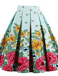 Women's Casual/Daily Holiday Midi Skirts A Line Geometric Spring Summer Fall
