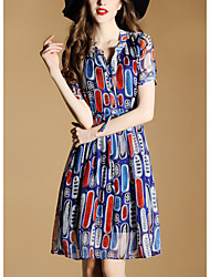 Women's Party Going out Casual/Daily Sexy Cute Street chic A Line Loose Sheath Dress,Solid Geometric Print V Neck Above Knee Short Sleeve