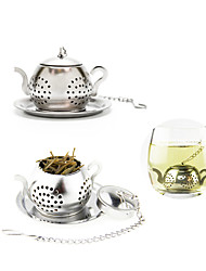 Teapot Shape Tea Strainer Tea Infuser with Mini Plate Stainless Steel