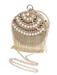 Women Evening Bag Polyester All Seasons Wedding Event/Party Formal Circle Rhinestone Crystal Pearl Detailing Kiss Lock Blue Gold Silver