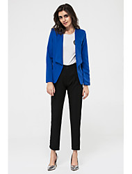 Women's Fall Blazer,Solid Shirt Collar Long Sleeve Blue / White / Black Medium