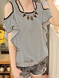 Damen Gestreift Einfach Lässig/Alltäglich T-shirt,Rundhalsausschnitt Kurzarm Polyester