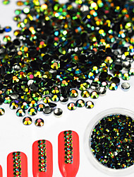 1Bottle 2mm Fashion Emerald Luxurious Black-green Laser Resin Jelly Rhinestone Glitter Rhinestone Nail DIY Beauty Jewelry Nail Art Shining Decoration