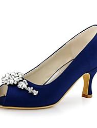 Damen Hochzeit Schuhe Pumps Stretch - Satin Frühling Sommer Hochzeit Party & Festivität Kristall StöckelabsatzSchwarz Marinenblau Grün