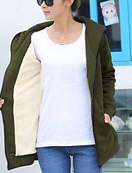 Women's Casual/Daily Simple Hoodie Solid Hooded Micro-elastic Cotton Long Sleeve Winter