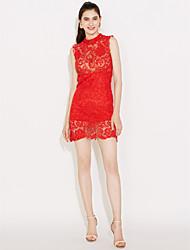 Femme Dentelle dentelle rouge/blanc/noir robe des s,mini sexy reposer manches de col