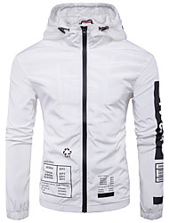 Men's Casual/Daily Active Fall Winter Jacket,Letter Hooded Long Sleeve Regular Others