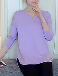 Damen Solide Einfach Lässig/Alltäglich T-shirt,V-Ausschnitt Langarm Polyester