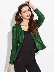 Женский Большие размеры Весна Куртка Вырез лодочкой Однотонный Красный / Черный / Зеленый Длинный рукав,Полиуретановая,Средняя
