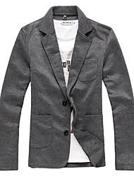 Для мужчин Спорт На выход На каждый день Весна Осень Куртка Воротник-стойка,Уличный стиль Однотонный Обычная Длинный рукав,Хлопок