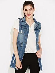 Mulheres Jaquetas Jeans Casual Moda de Rua Outono,Sólido Azul Algodão Colarinho de Camisa Sem Manga Média