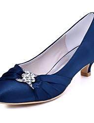 Mujer Zapatos de boda Pump Básico Satén Elástico Primavera Otoño Vestido Fiesta y Noche Cristal Tacón Kitten Negro Azul Oscuro Rojo Morado
