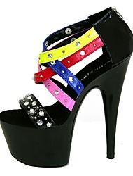 Femme Sandales Chaussures formelles Polyuréthane Eté Habillé Soirée & Evénement Rivet Boucle Lacet Talon Aiguille Noir Rouge 12 cm & plus