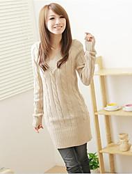 Для женщин На выход На каждый день Простое Обычный Пуловер Однотонный,V-образный вырез Длинный рукав Хлопок Акрил Осень Зима Толстая