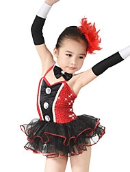 MiDee Ballet Dresses Children's Performance Spandex / Polyester / Organza / Sequined Bow(s) / Paillettes / Sequins / Tiers 5 Pieces Sleeveless