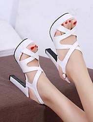Damen Schuhe PU Sommer Komfort High Heels Stöckelabsatz Peep Toe Mit Für Normal Weiß Schwarz Rosa