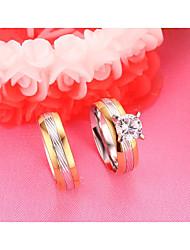 Paar Eheringe Kubikzirkonia Modisch Simple Style Elegant Titan Stahl Zirkon Runde Form Schmuck Für Hochzeit Verlobung